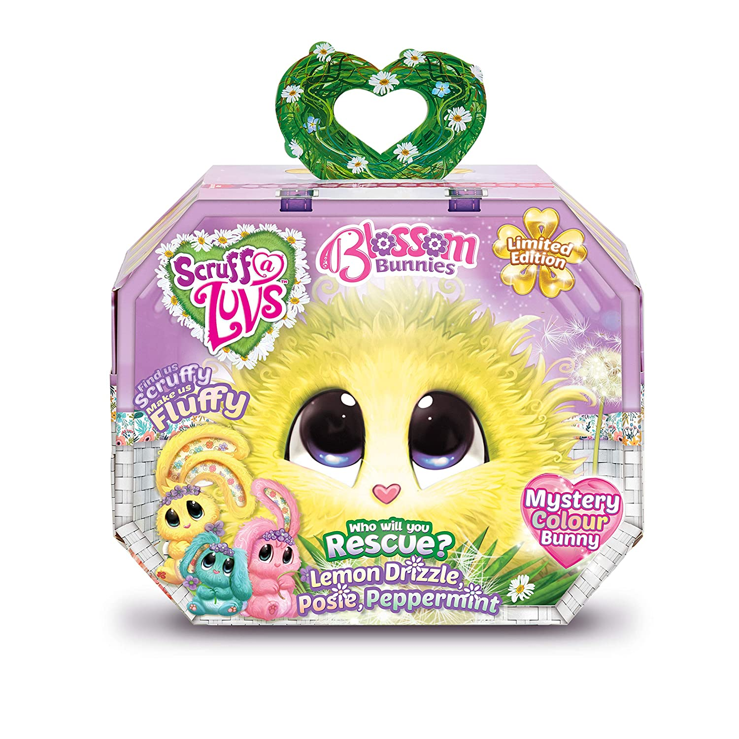 Worlds Apart Scruff-a-Luvs Blossom Bunnies - Rescue Pet Soft Toy - Limited Edition Rabbit (Pink, Yellow orGreen) - Styles May Vary