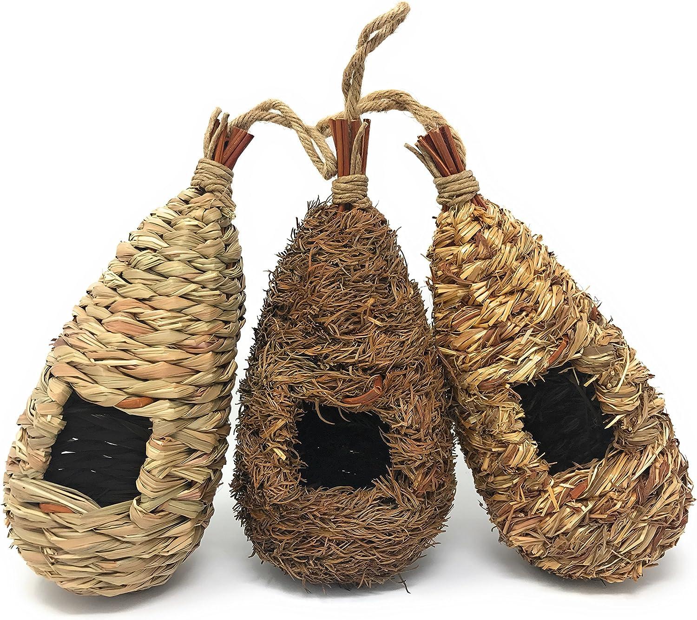 Lantern Hill Set of 3 Hand Woven Teardrop Shaped Small Hanging Birdhouses