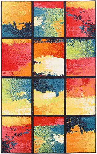 Superior Painted Cubes Area Rug Collection 8X10