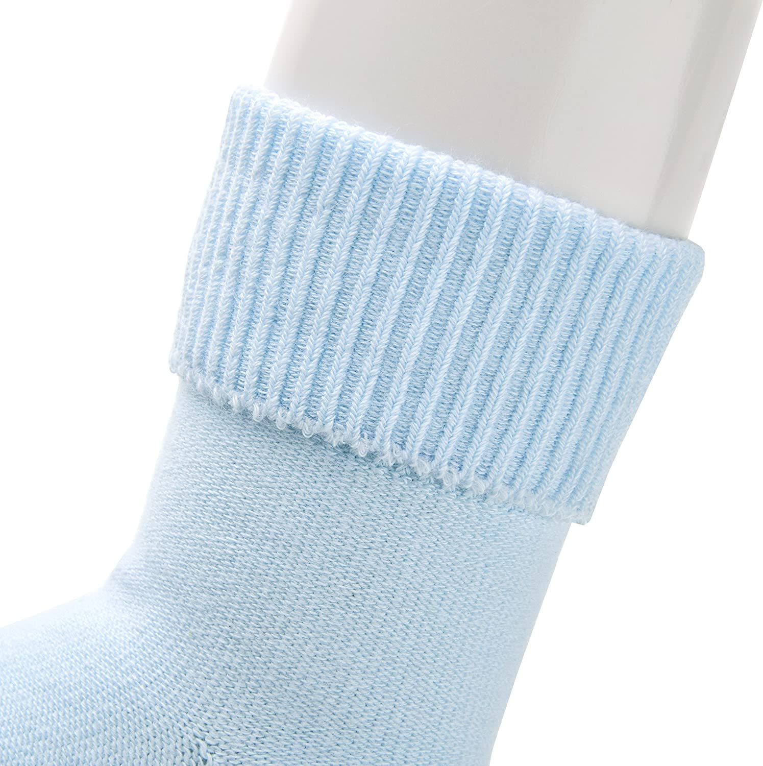 Aurora Wings 6 Pairs Unisex-Baby Cotton Socks Solid Color Socks Toddlers Socks 6-12 Months, Basic Color//White+Lavender