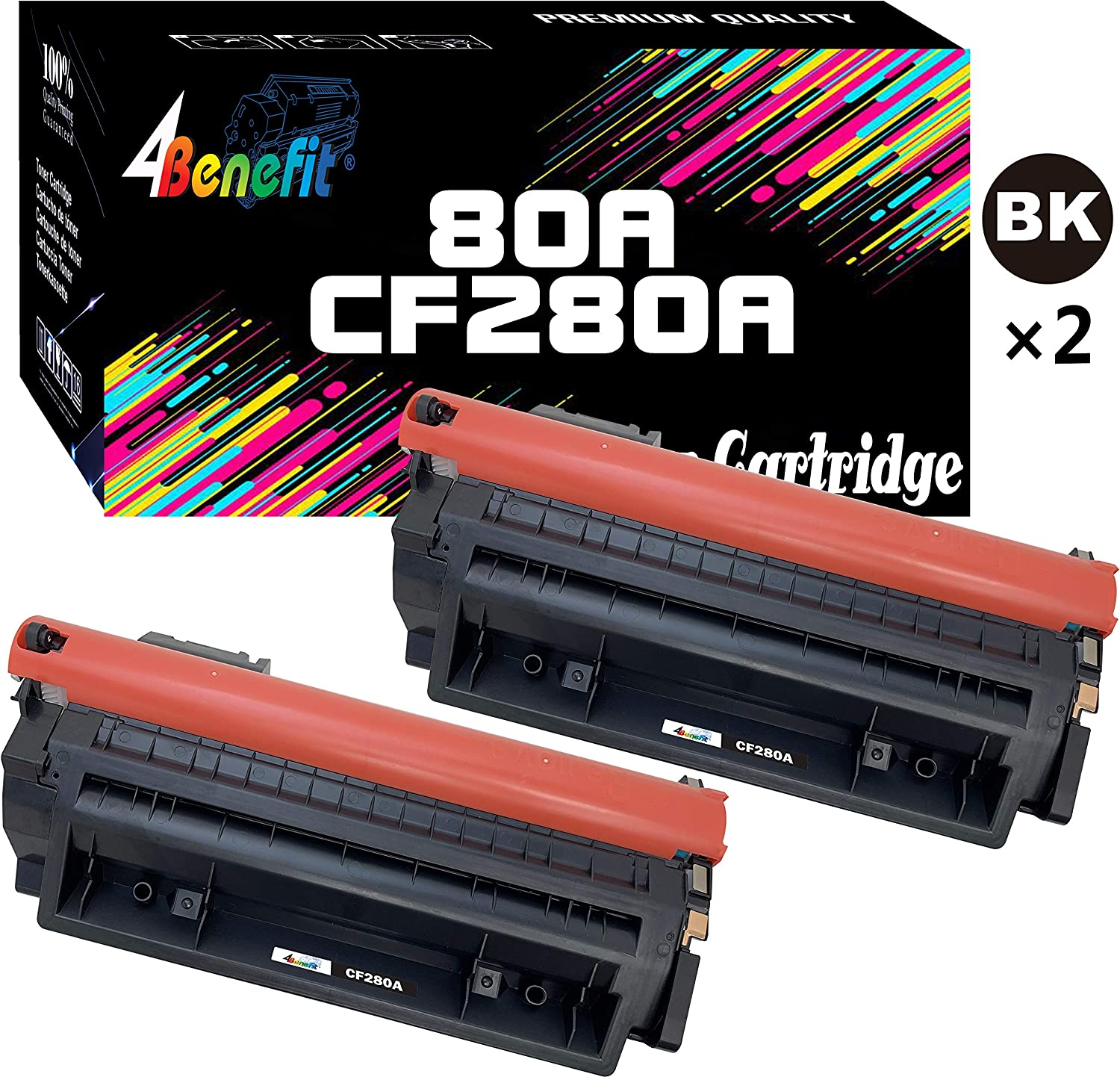 4Benefit Compatible Toner Cartridge Replacement for HP 80A CF280A 80X CF280X to Used for HP Laserjet Pro 400 MFP M425d M425dw M401n M401dw M401dne M401dn Printer (2-Pack, Black)