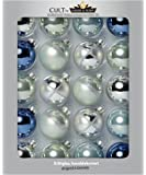 Cancro & Sohn–Set di sfere in vetro–Be Cool decorazioni dell' albero di Natale–Palline–Argento, Jeans blu, colori pastello