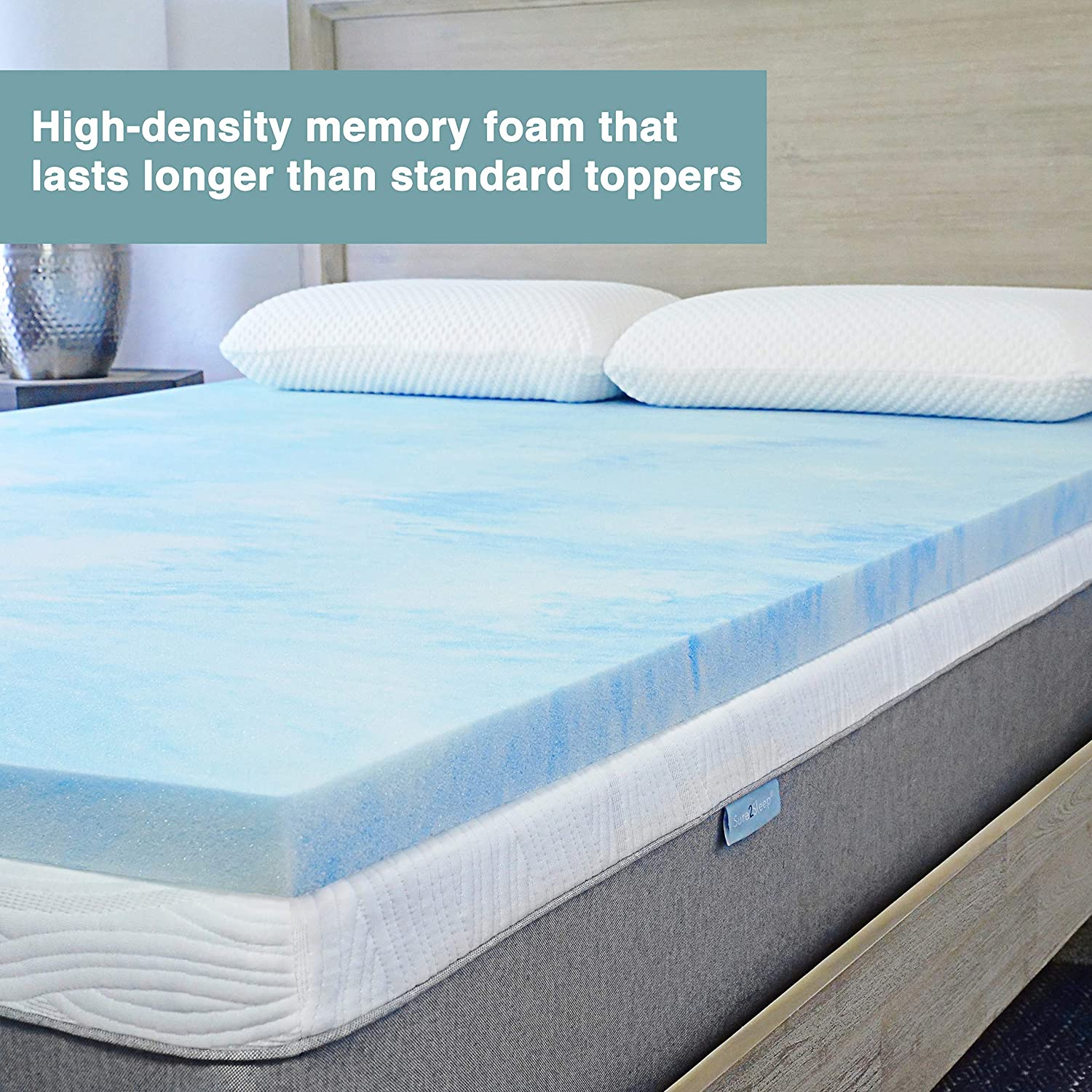 Amazon Com Sure2sleep King Premium 3 Lb Gel Swirl Memory Foam Mattress Topper Made In Usa 2 Inch Kitchen Dining
