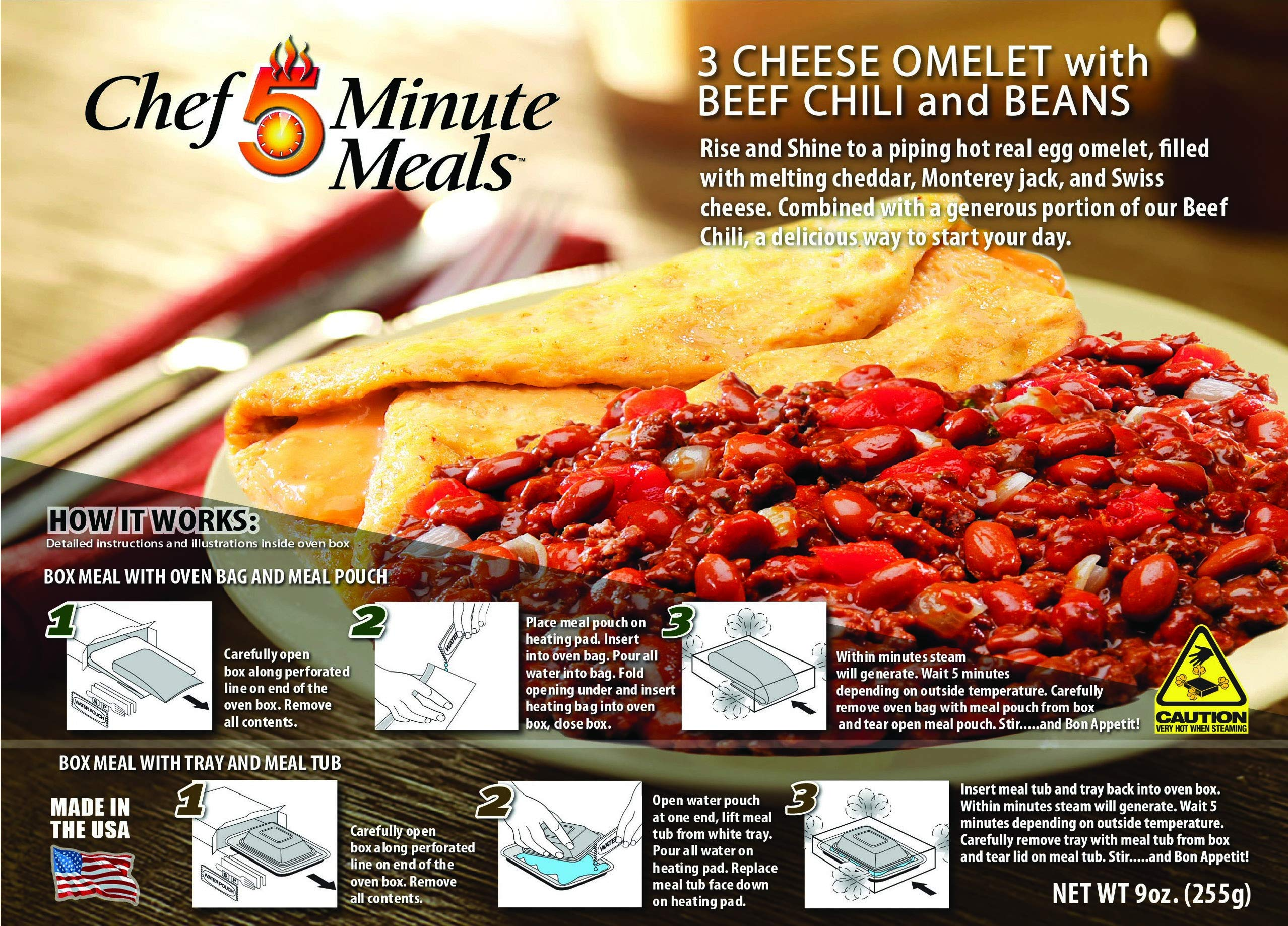 Chef 5 Minute Meals Self Heating Meal Breakfast: 3 Cheese Omelet w/Beef Chili with Beans - Case of 12 by Chef 5 Minute Meals (Image #3)