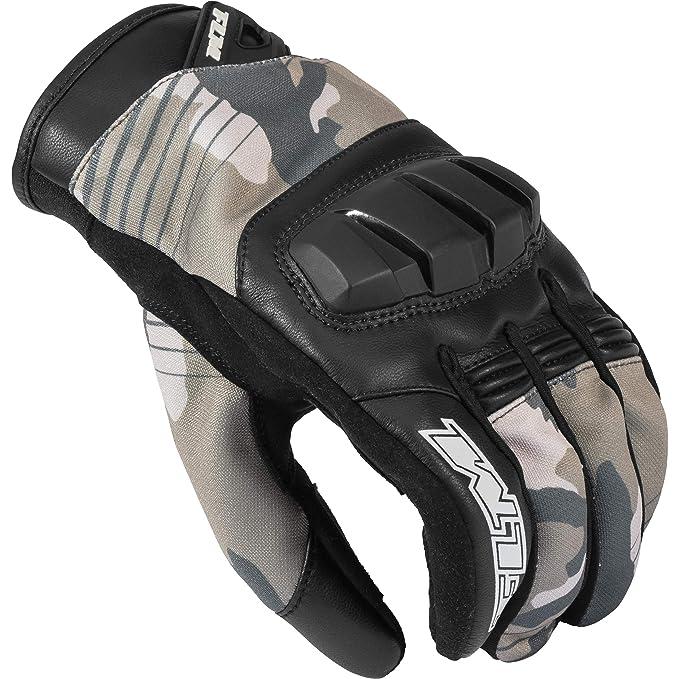 Herren Sportler Leder//Textil FLM Motorradschutzhandschuhe Motorradhandschuhe kurz Sommer Textilhandschuh 2.0
