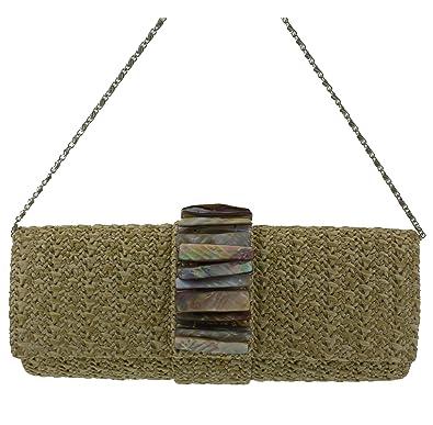 b5407cc279c7 WHOLESALE PRICE - Margaux Ivory Ladies Clutch Bag Raffia Look Handbag with  Chain