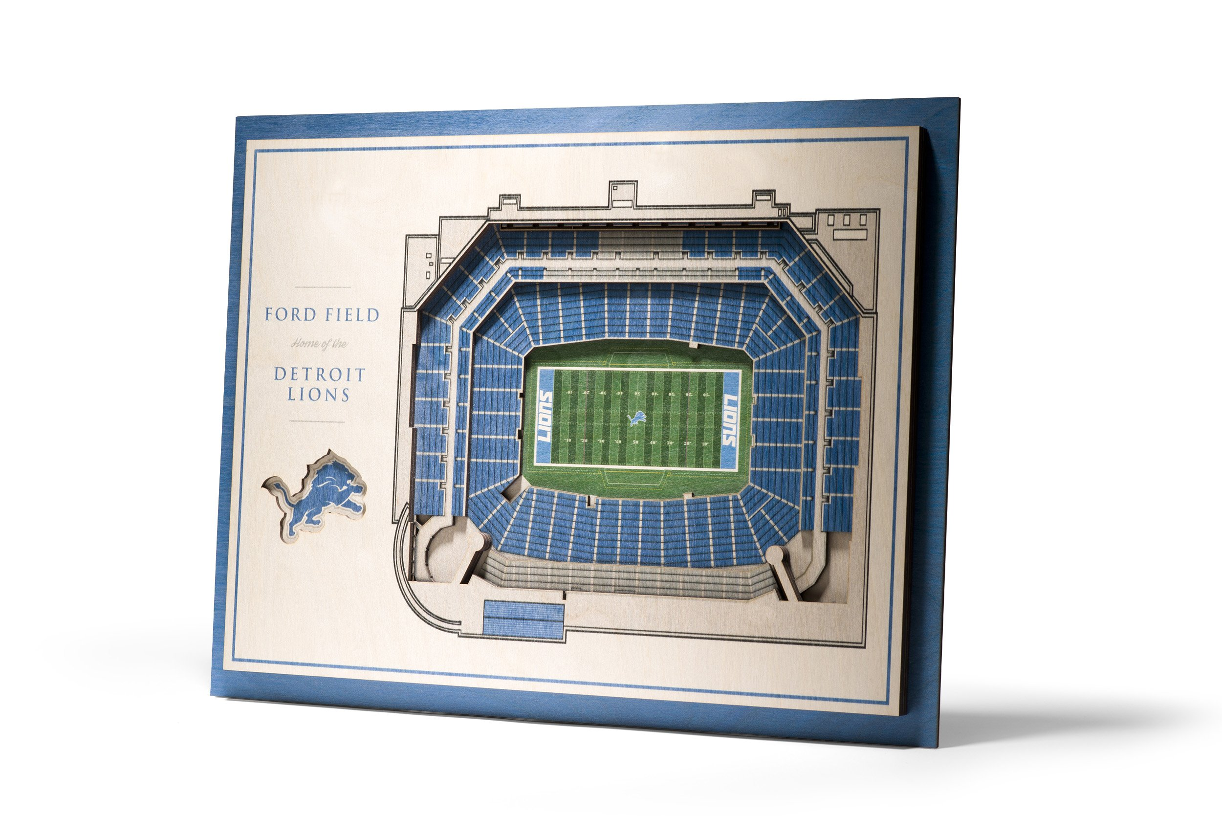 NFL Detroit Lions 5-Layer Stadiumviews 3D Wall Art by YouTheFan