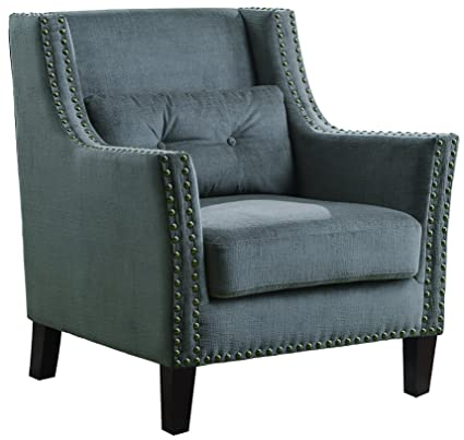 Amazoncom Accent Chair With Nailhead Trim Grey Kitchen Dining