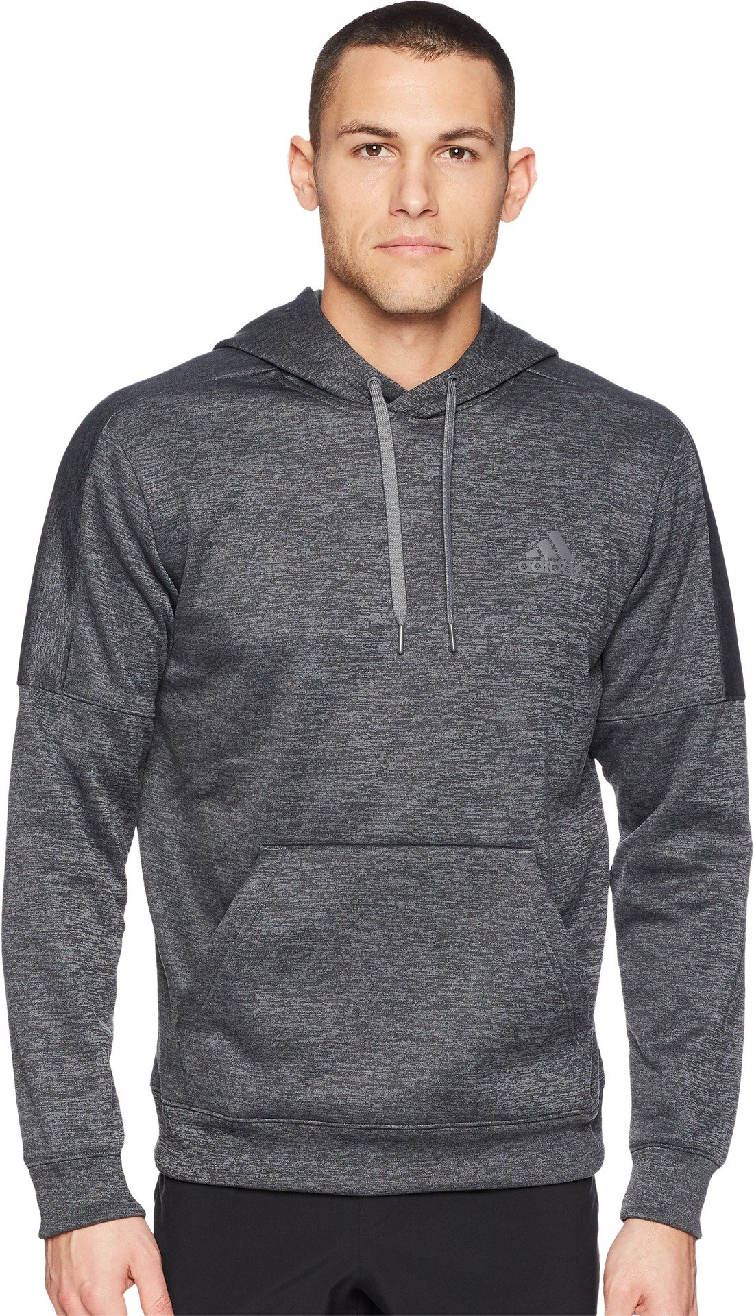 adidas Men's Team Issue Fleece Pullover Hoodie, Dark Grey Melange/Dark Grey, Medium