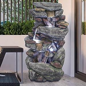 Outdoor Garden Fountain- 5-Tier Rock Waterfall Water Fountain w LED Lights Outdoor Water Features & Fountain Home Outdoor Decorations for Garden, Patio, Deck, Porch, Backyard Fountain 40.15