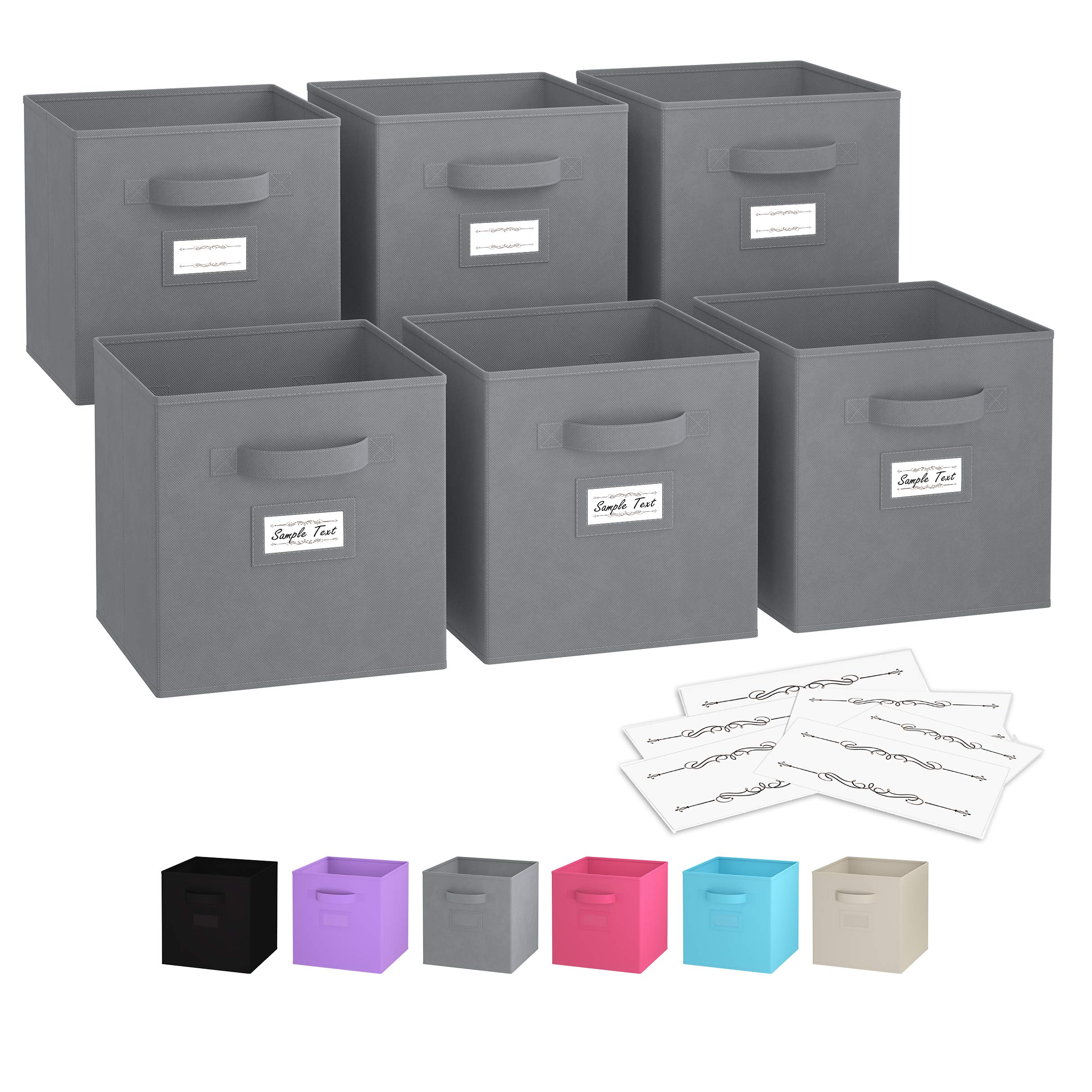 Royexe - Storage Cubes - (Set of 6) Storage Baskets | Features Dual Handles & Label Window with 10 Label Cards | Cube Storage Bins | Foldable Fabric Closet Shelf Organizer (Grey)