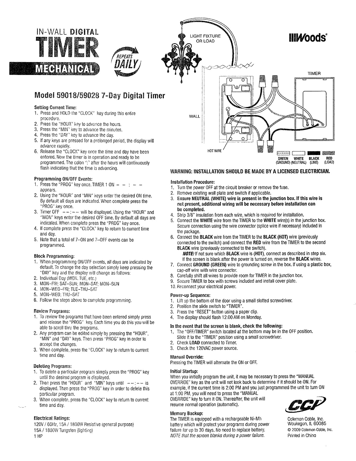 Woods 59008 Timer Wiring Diagram Diagrams 11 Pin For 7 Day Programmable Digital 11pin Relay