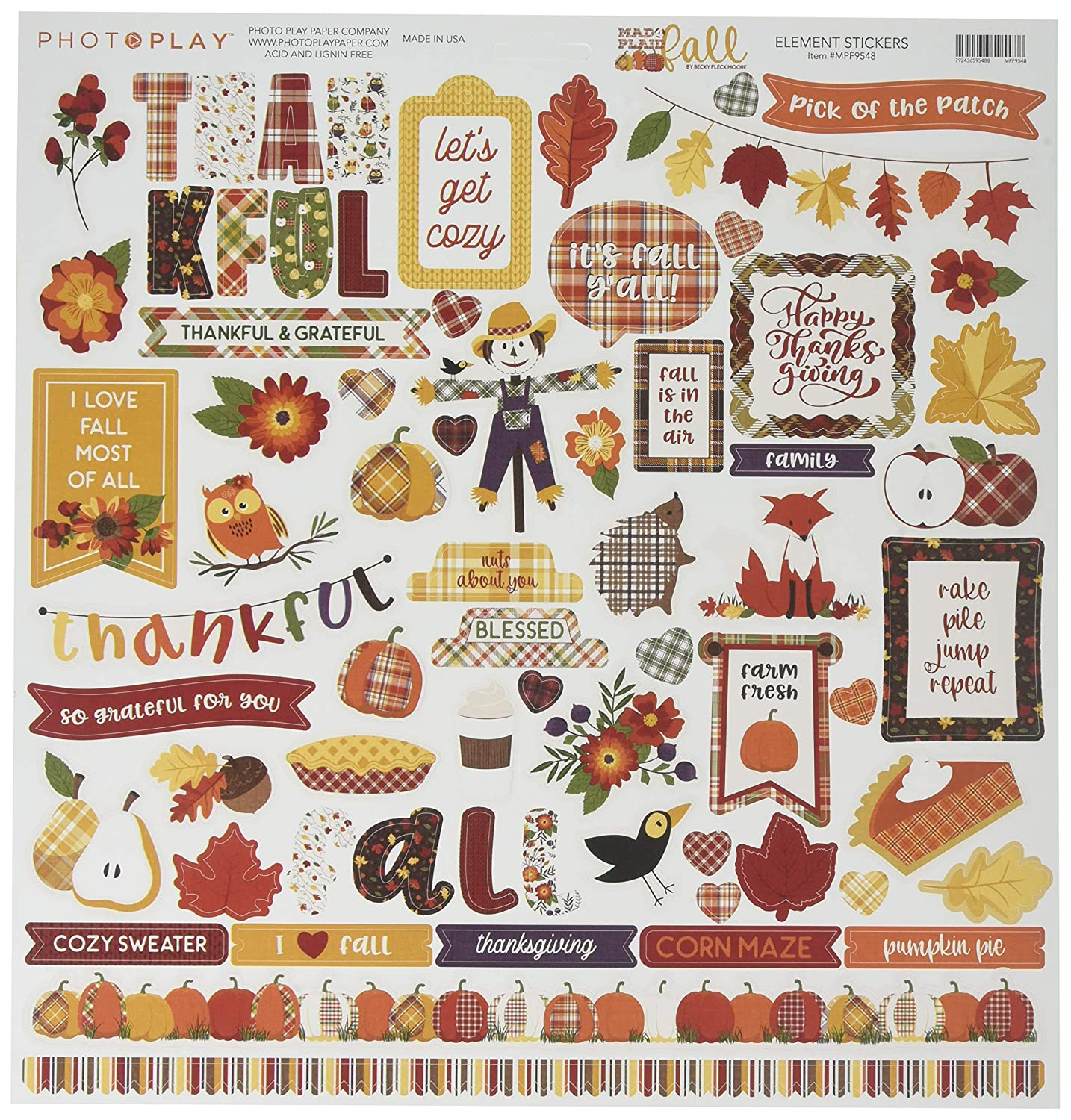 Photoplay Paper MPF9549 PhotoPlay Collection Pack 12X12-Mad 4 Plaid Fall