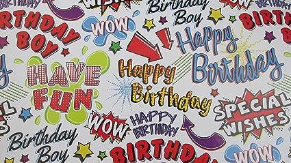 Boys para hombre feliz cumpleaños papel de regalo - deseos ...