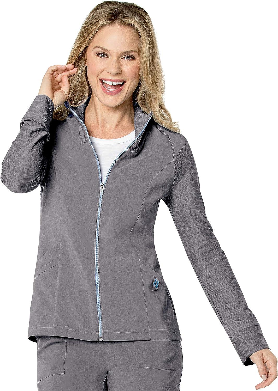 Landau Women's 3 Pocket, Modern Tailored Fit Mock Neck Medical Jacket 9876