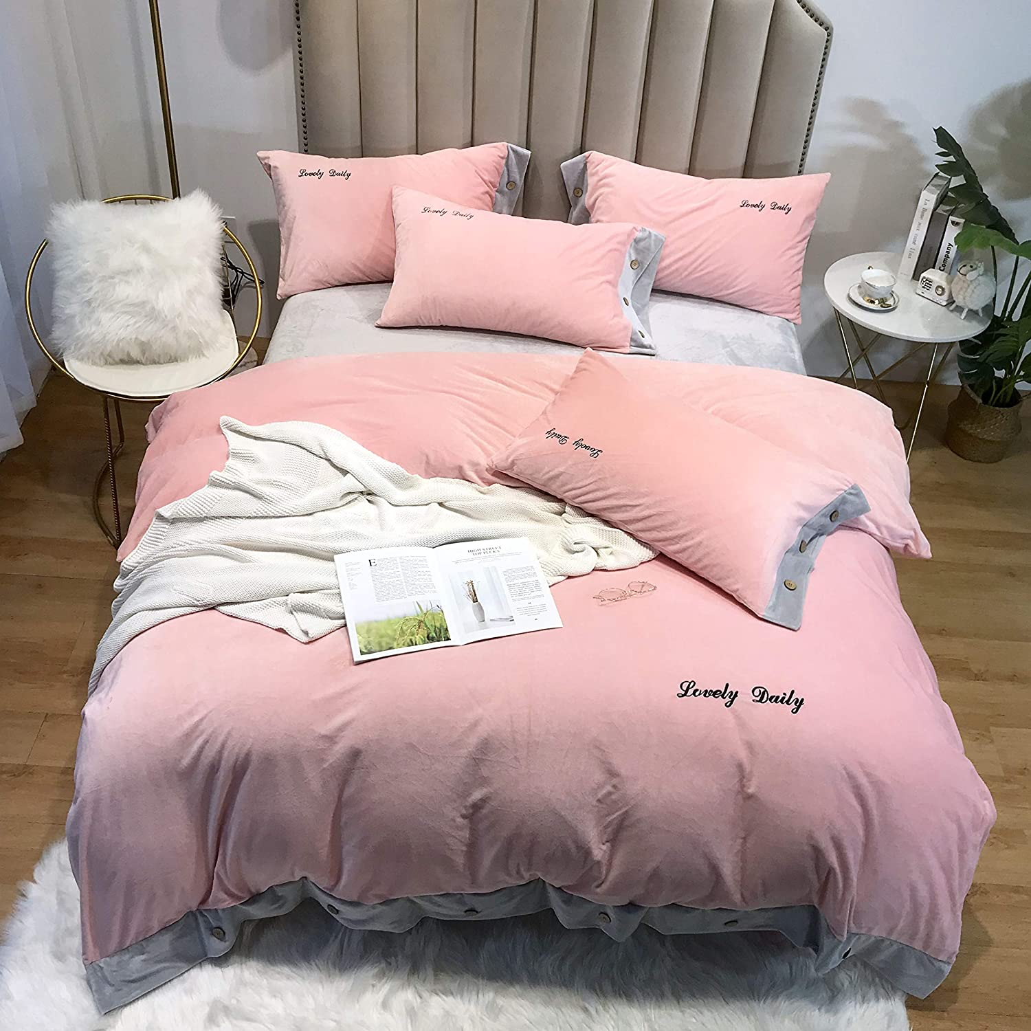 Quilt Set Duvet Cover Sets,European Style Simple Hypoallergenic Comfort All-Season 4 Piece Home Bedding Fade Resistant-H-200x220cm(79x87inch)