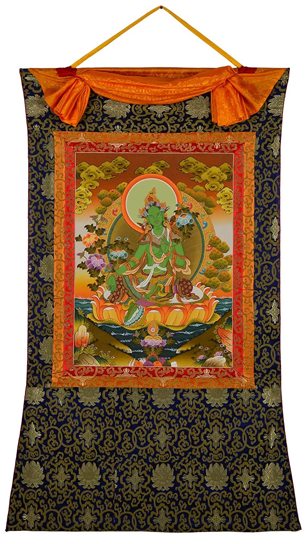 Thangka tibetisches Meditationsbild Grüne Tara - Shyama Tara ...