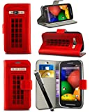 Alcatel One Touch Pixi 3 (4.0 inch) Dual SIM 4013 / 4050 - New Bright Printed Wallet Case Cover Creative Fresh Pattern Design with Integrated Stand & Large STYLUS Pen - Red Telephone Booth Box