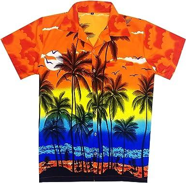 Virgin Crafts Camisa Hawaiana Hombre Camisa de Playa de Moda Casual con Estampado de Grandes Palmeras: Amazon.es: Ropa y accesorios