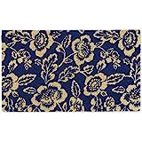 "DII Floral Design Collection Natural Coir Doormat, 18x30"", Blue Peonies"