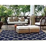 Brown Jordan Prime Label Outdoor Furniture Rug 5x7 Seneca Collection Blue Sisal Woven Modern Patio Rugs, Navy
