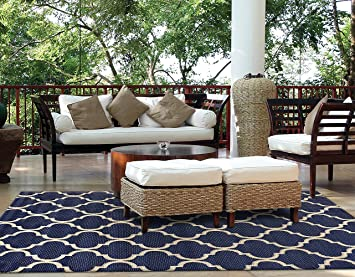 Brown Jordan Prime Label Outdoor Furniture Rug 5x7 Seneca Collection Blue  Sisal Woven Modern Patio Rugs Part 80