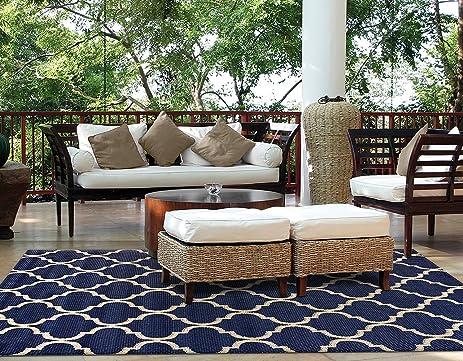 Brown Jordan Prime Label Outdoor Furniture Rug 5x7 Seneca Collection Blue  Sisal Woven Modern Patio Rugs