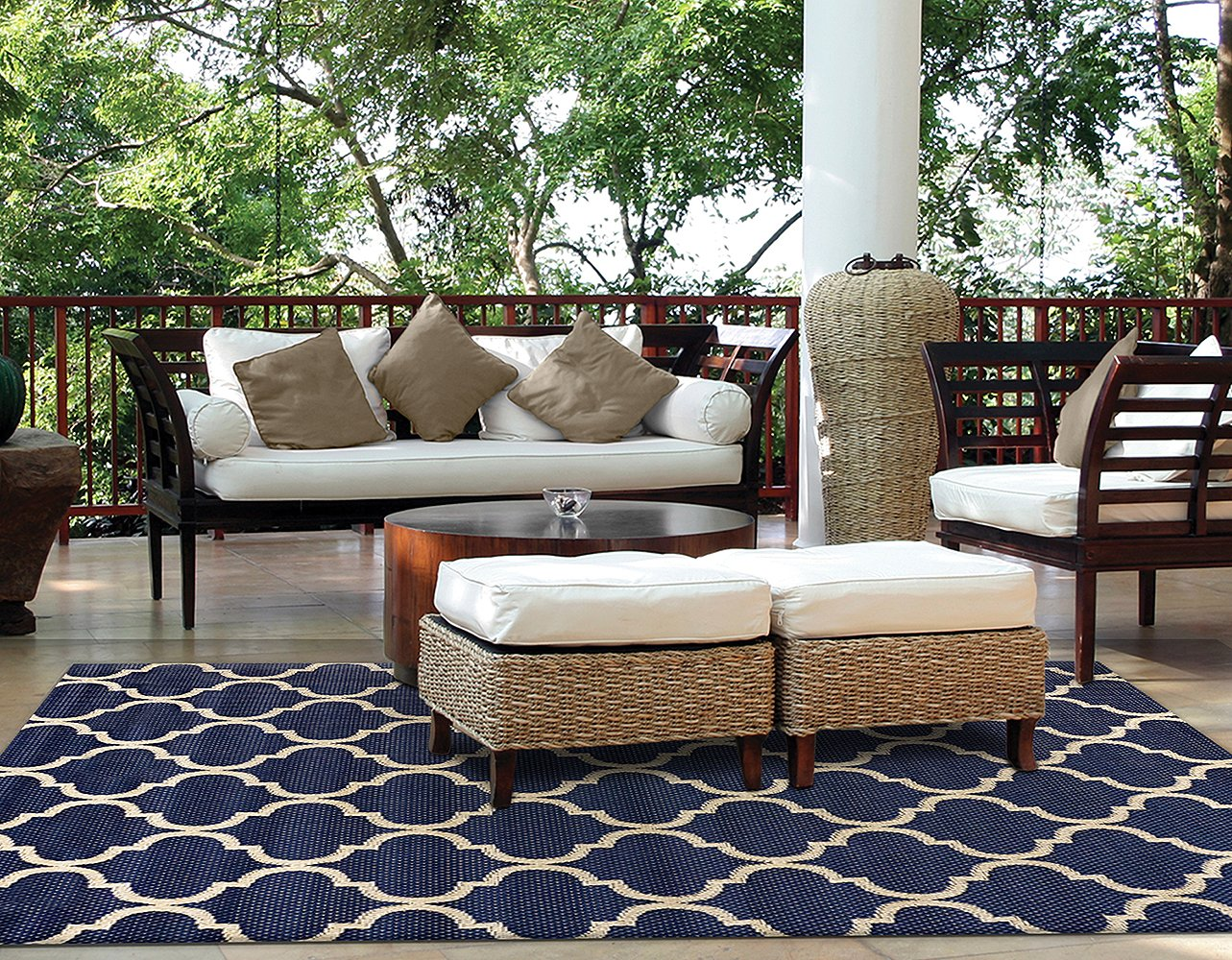 Brown Jordan Prime Label Outdoor Furniture Rug 5x7 Seneca Collection Blue Sisal Woven Modern Patio Rugs, Navy by Gertmenian