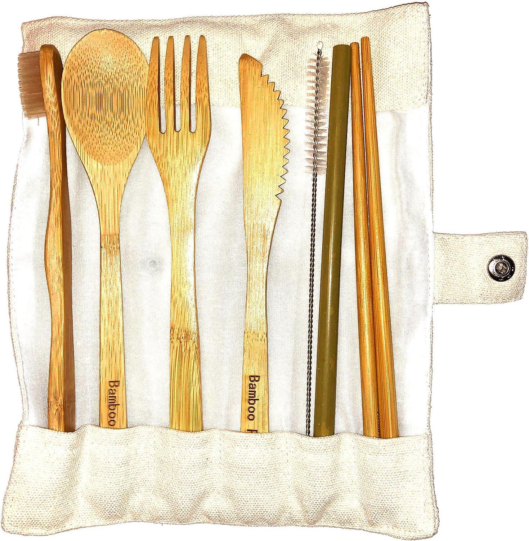 Bamboo Panda - Cubertería de bambú reutilizable, juego de utensilios de bambú, cubiertos de madera, cubiertos de viaje ecológicos, cubiertos de viaje