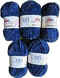 5 x 100 Gramm Babywolle dunkelblau 80321 blau, 500 Gramm Wolle Super Bulky zum Stricken und Häkeln