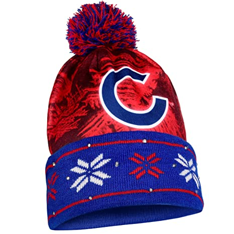 f53aa8dc3ce4b Amazon.com   Chicago Cubs Big Logo Light Up Printed Beanie   Sports    Outdoors