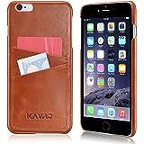 "KAVAJ iPhone 6s Plus/iPhone 6 Plus Leder Hülle Case ""Tokyo"" Cognac-Braun aus echtem Leder mit Visitenkartenfach. Dünne hochwertige Echtleder Cover Schutzhülle Tasche Bumper für Apple iPhone6s Plus"