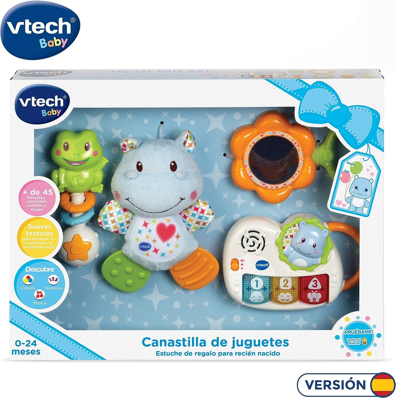 VTech - Canastilla de juguetes, estuche de regalo para bebé recién nacido que incluye peluche mordedor, sonajero, piano interactivo y espejo de seguridad (80-522022)