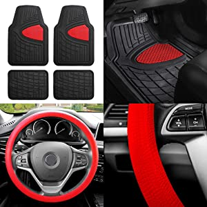 FH Group F11311 Premium Tall Channel Rubber Trimmable Floor Mats w. FH3001 Snake Pattern Silicone Steering Wheel Cover, Red/Black- Universal Fit for Trucks, SUVs, and Vans
