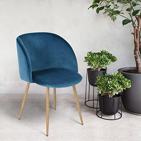 Nice Mid Century Style Living Room Blue Velvet Accent Arm Club Chair Dining Chair  , Strong Steel