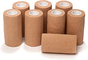 8-Piece Self Adherent Cohesive Wrap Bandages Bundle Pack, 3-in Wide 5 yds Self Adhesive Non Woven Bandage Rolls, Brown Athletic Tape for Wrist & Hand, Premium-Grade Medical Stretch Wrap, Ankle Tape