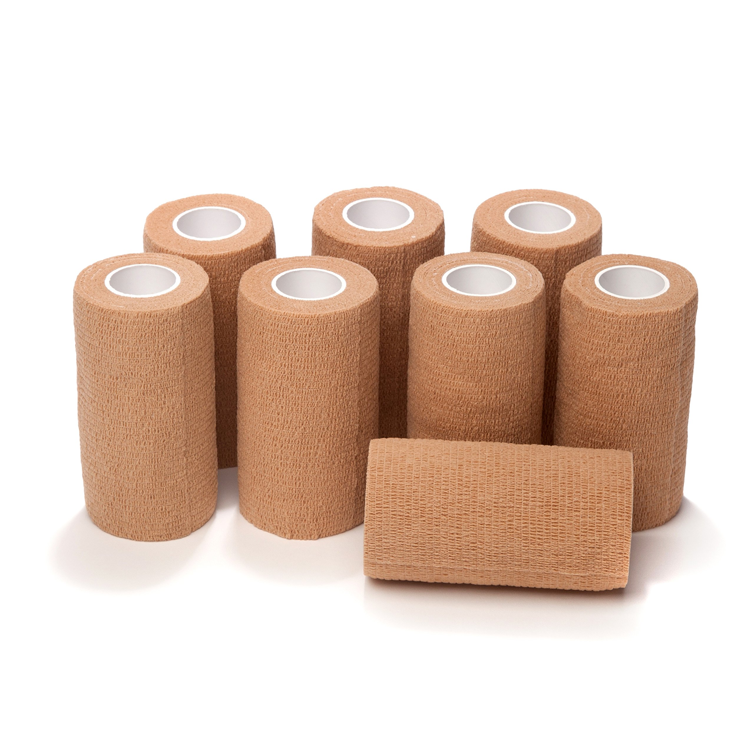 8-Pack, 3'' Wide x 5 Yards, Self-Adherent Cohesive Tape, Strong Sports Tape for Wrist, Ankle Sprains & Swelling, Self-Adhesive Bandage Rolls, Vet Tape Vet Wrap, Brown Color, By California Basics