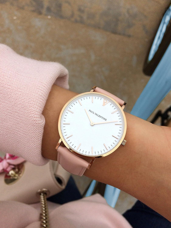 Paul Valentine | Marina Rose Gold Color Rosa | Mujer Reloj De Pulsera Con elegante diseño & atemporal y cinta de piel pulsera: Amazon.es: Relojes