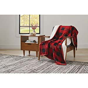 """Better Homes and Gardens Super Soft and Warm Winter Velvet Plush Reversible to Sherpa Throw Blanket, Fun Prints with Solid Cream Back, 50"""" x 60"""" (Red Plaid)"""