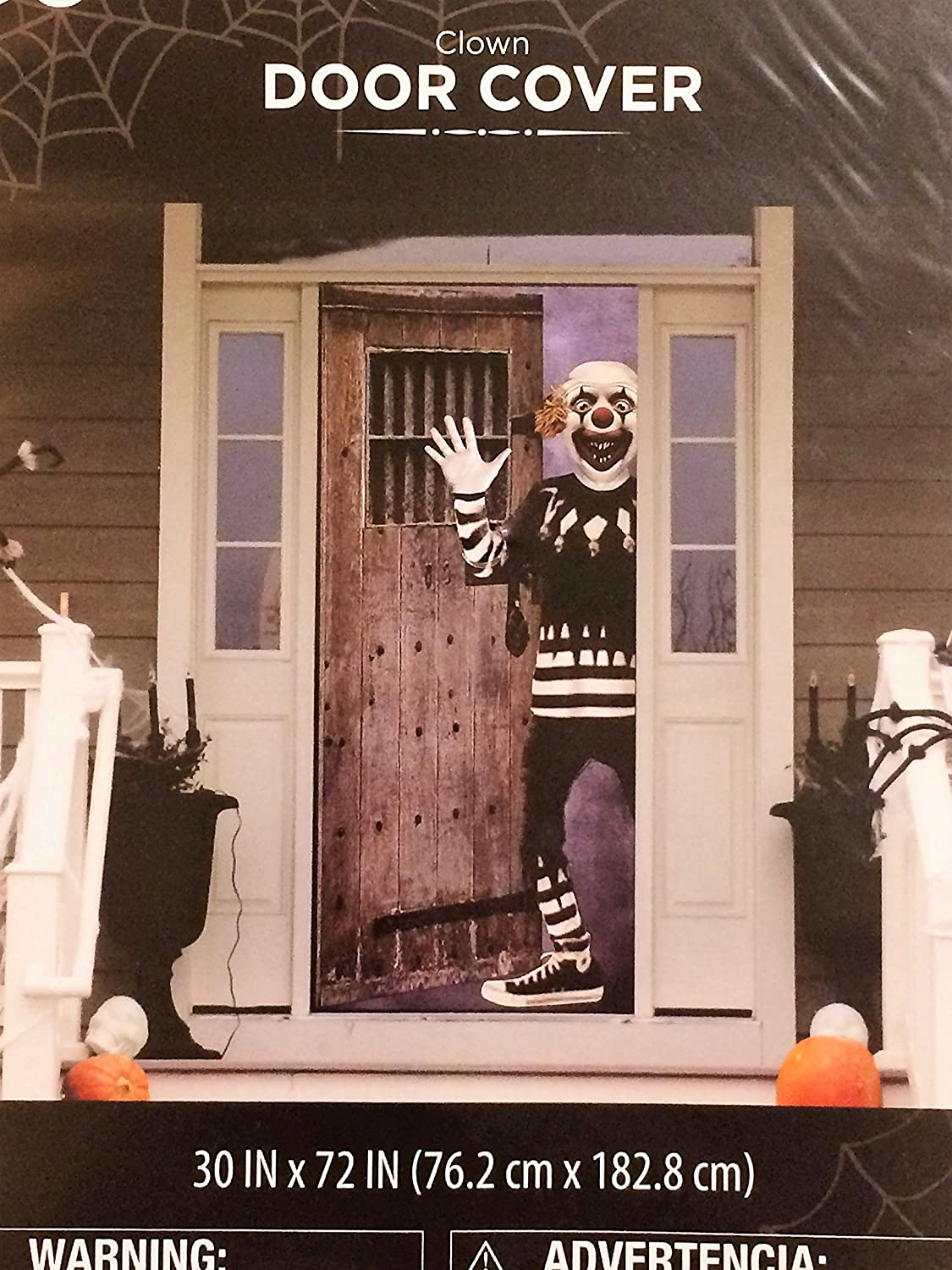 Pack of 2 Halloween Door Covers Fun House Clown and Help Us Scary Decor Fright