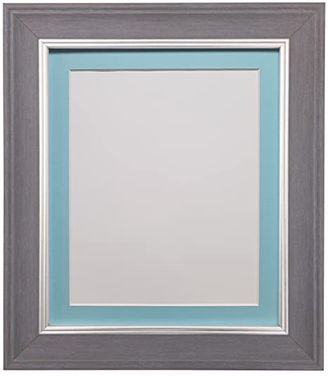 Scandi Slate Grey Photo Picture Poster Frame with Blue Mount 50 x ...