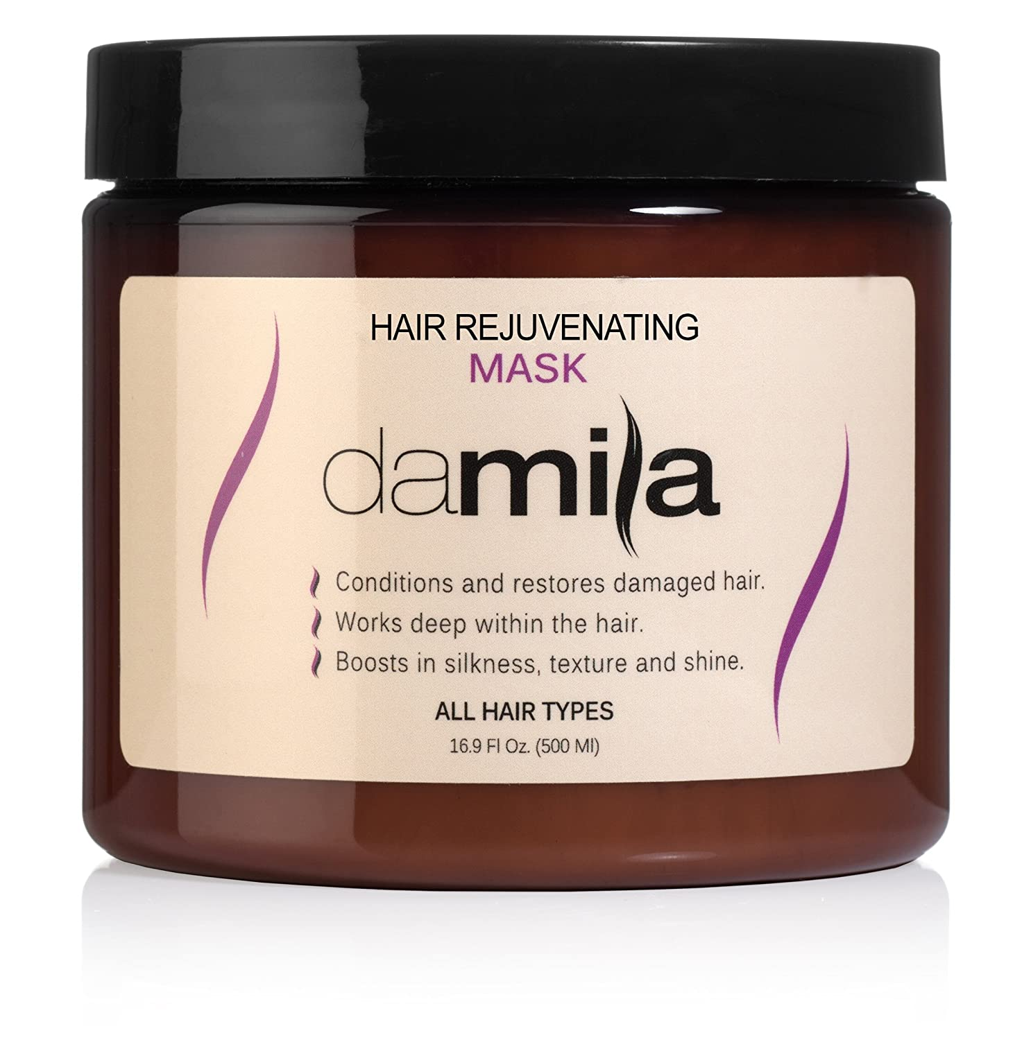 Hydration Hair Mask for all hair types - Best Damaged Hair Treatment / Repair Mask for Hair Uses Hydrolyzed Keratin to Strengthen and Moisturize (16.9 oz / 500 ml) by Damila