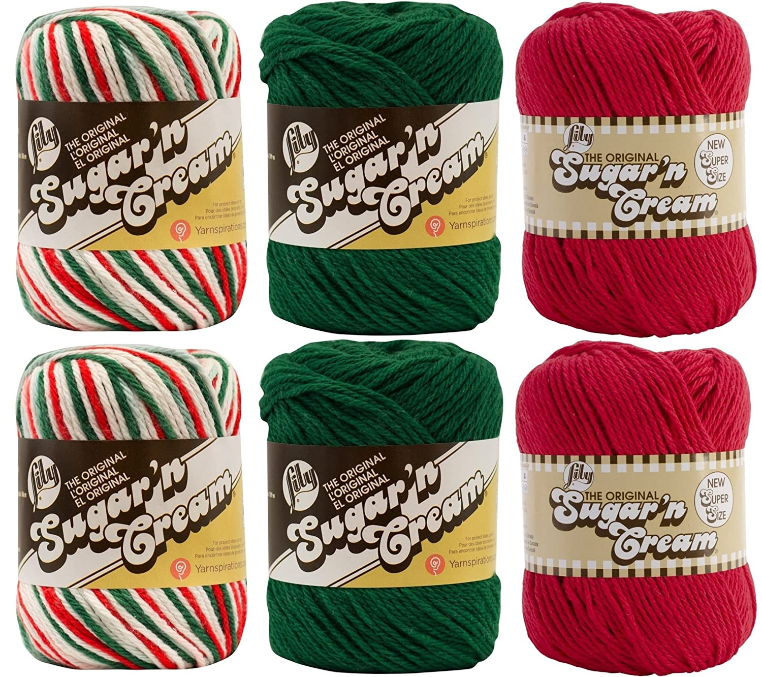 Variety Assortment Lily Sugar'n Cream Yarn 100% Cotton Solids and Ombres Holiday Bundle (6-Pack) Medium #4 Worsted Spinrite® 4336926709