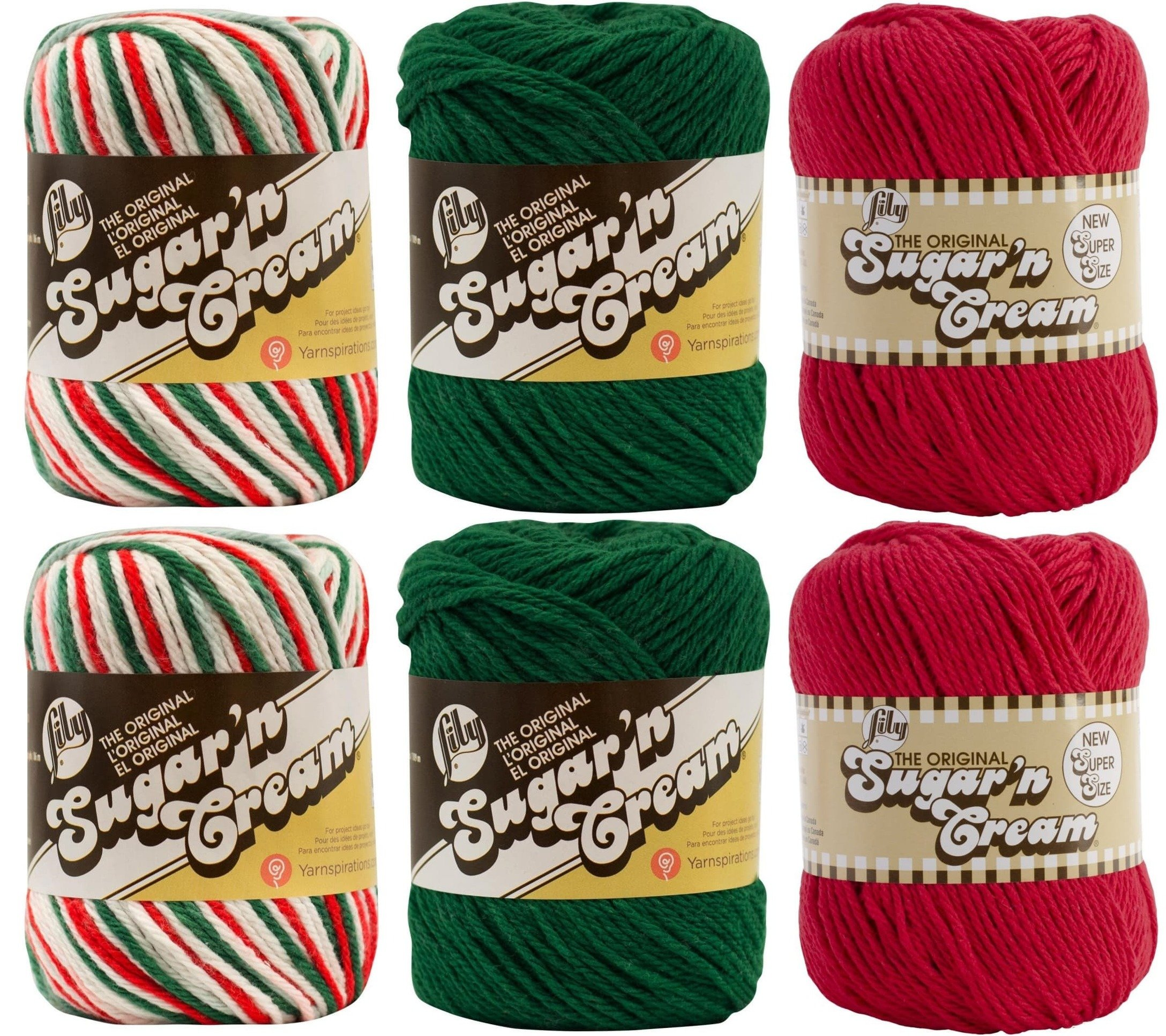 Variety Assortment Lily Sugar'n Cream Yarn 100% Cotton Solids and Ombres Holiday Bundle (6-Pack) Medium #4 Worsted