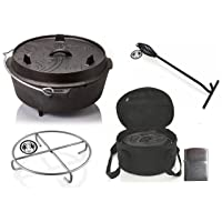 Petromax Set Dutch Oven Gusseisen klein schwarz Firepot Garten Camping Picknick ✔ rund