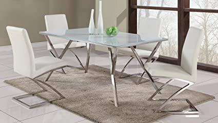 Milan Jaina 5PC Jaina Super White/Chrome 5 Piece Dining Set