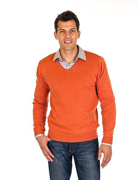 Noble Mount Men's 100% Cotton V-Neck Sweater - Rust - Medium at ...