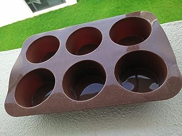Agora sólida y gruesa de silicona tazas de 6 magdalenas para tartas sartén antiadherente molde incluye Tupperware Eco botella (500 ml) + Express entrega: ...