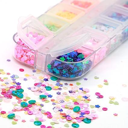QIMEIYA Brillantes Brillo Escamas Copos Uñas Efecto Azúcar Iridiscente Arte Diseños Manicura Decoración Accesorios Nail Art