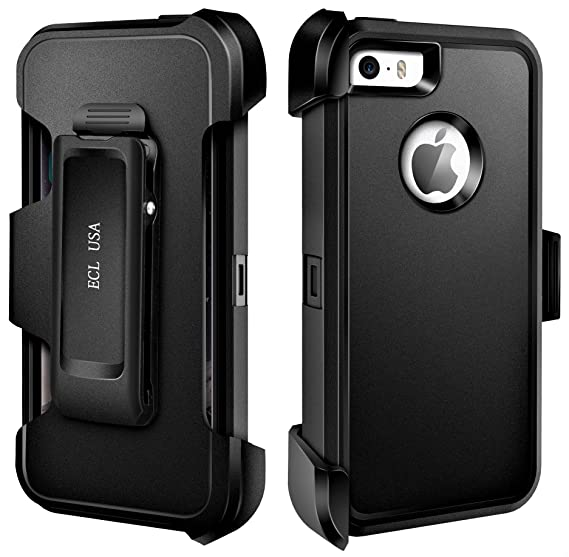 timeless design 1e21c c05ca ECL USA Case for Apple iPhone SE, 5, 5S Case Cover Armor Tough Shockproof  Cover Belt Clip Built-in Screen Protector Case for iPhone 5 / 5SE / iPhone  ...
